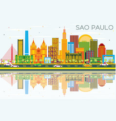 Sao paulo skyline with gray buildings blue sky vector