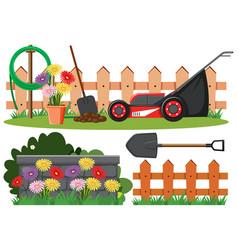 Scene with lawnmower and flowers in garden vector