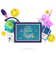 school items cartoon characters with cute smiling vector image