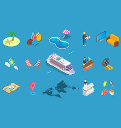 sea cruise icon set isometric vector image