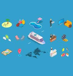 sea cruise icon set isometric vector image