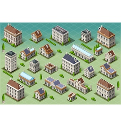set isometric european buildings vector image
