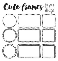 set of cute hand drawn frames vector image