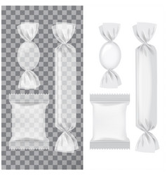 set of transparent and white foil pack for candies vector image