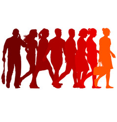 Set red silhouettes of beautiful man and woman on vector