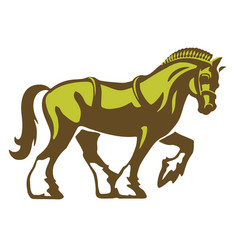 shire horse draft horse heavy horse logo vector image