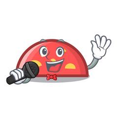 singing semicircle mascot cartoon style vector image