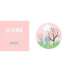Spring pink web banner for warm season vector