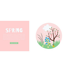 spring pink web banner for warm season with vector image