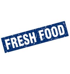 square grunge blue fresh food stamp vector image