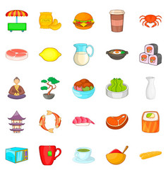 tea ceremony icons set cartoon style vector image