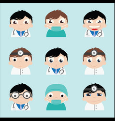 The doctor with a face many of the emotions vector