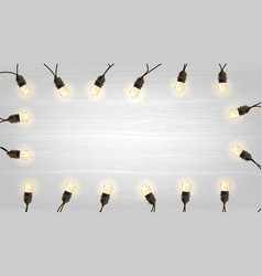 vintage christmas lights bulb decoration on light vector image