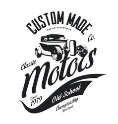 Vintage custom hot rod motors tee-shirt log vector