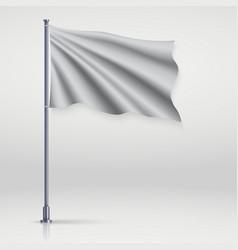 waving blank flag on flagpole vector image