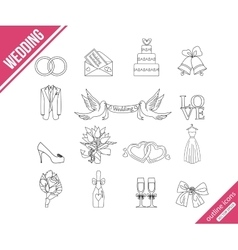 Wedding outline icons set vector