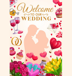 wedding party invitation bride and groom couple vector image