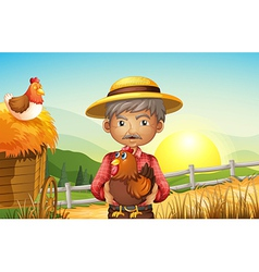 An old man at the farm holding a rooster vector image