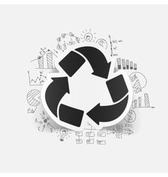 Drawing business formulas recycle sign vector