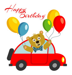 happy birthday kids postcard template with bear vector image vector image