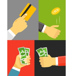 Human hand with cash and golden card vector