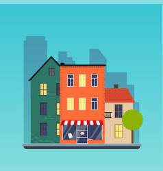 town houses urban landscape city flat design vector image vector image