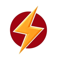 Yellow thunderbolt on red round doodle isolated vector image
