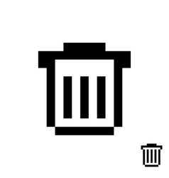 black pixelart trash can vector image