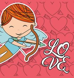cupid boy with bow and arrow love card vector image