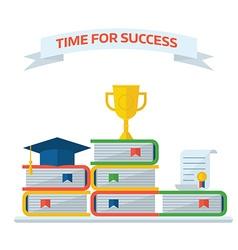 Graduation Awards Book Steps Pedestal Concept vector image