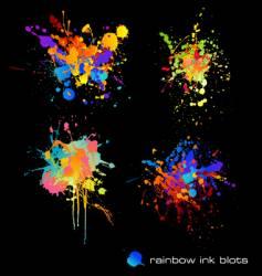 rainbow ink blots vector image