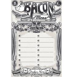 Vintage Page Bacon Menu for Restaurant vector image vector image