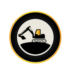 color circular road sign with backhoe vector image
