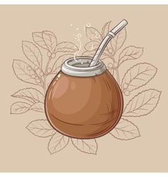 Mate in calabash with bombilla vector