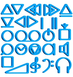 Recorder symbols set vector image vector image