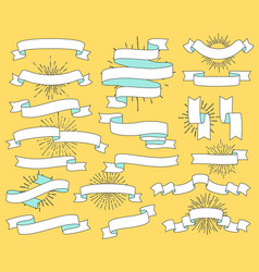 set of old vintage ribbon banners and drawing in vector image vector image