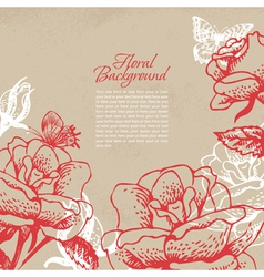 Vintage floral background with butterflies vector image vector image