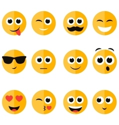 set of emotional face icons vector image