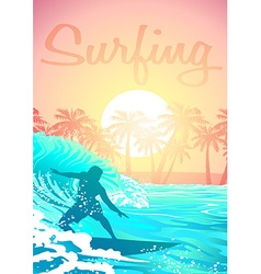 Surfing male at sunrise with palm trees vector image vector image