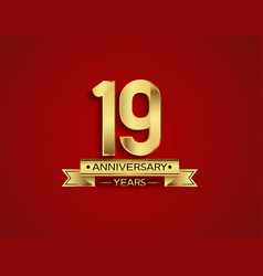 19 years anniversary golden design color vector