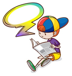 A boy reading with an empty callout vector image