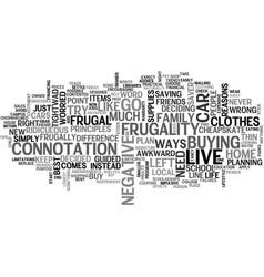 A frugal lifestyle text word cloud concept vector