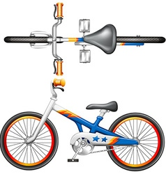 A top and side view of a bicycle vector