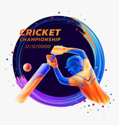 abstract of batsman playing vector image