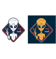 Alien showing peace sign colorful label vector