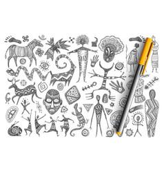 Ancient african symbols doodle set vector
