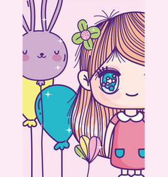anime cute girl with flower in hair balloons vector image