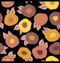autumn doodle flowers seamless repeat vector image