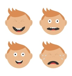 Baby boy face set with different emotions Crying vector