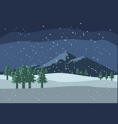 Beautiful snow scenery and mountain background vector